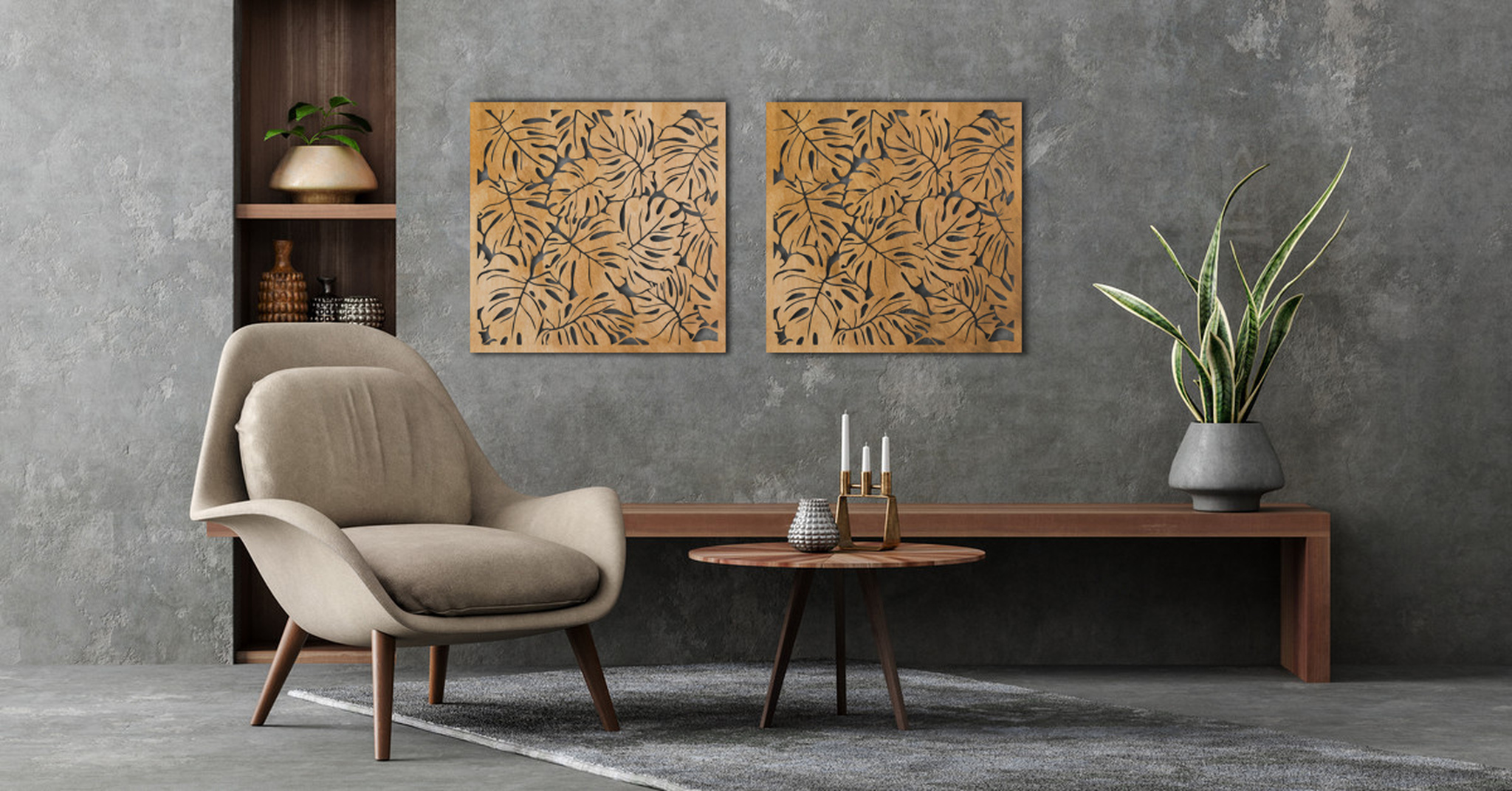 drewniany panel monstera