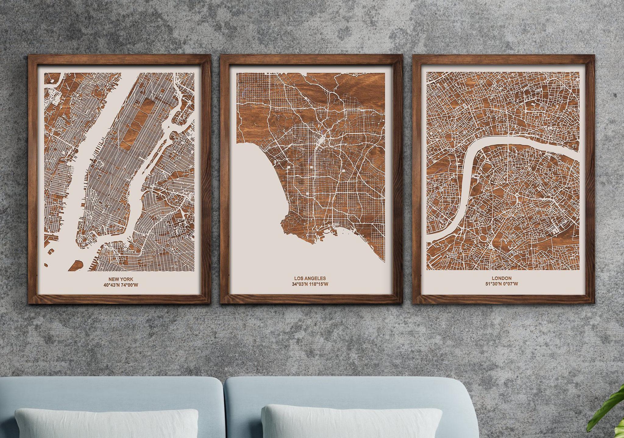 drewniana mapa miasta