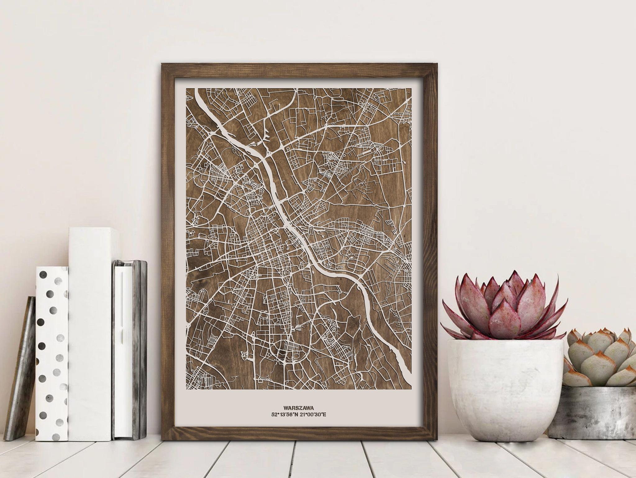 drewniana mapa miasta warszawa