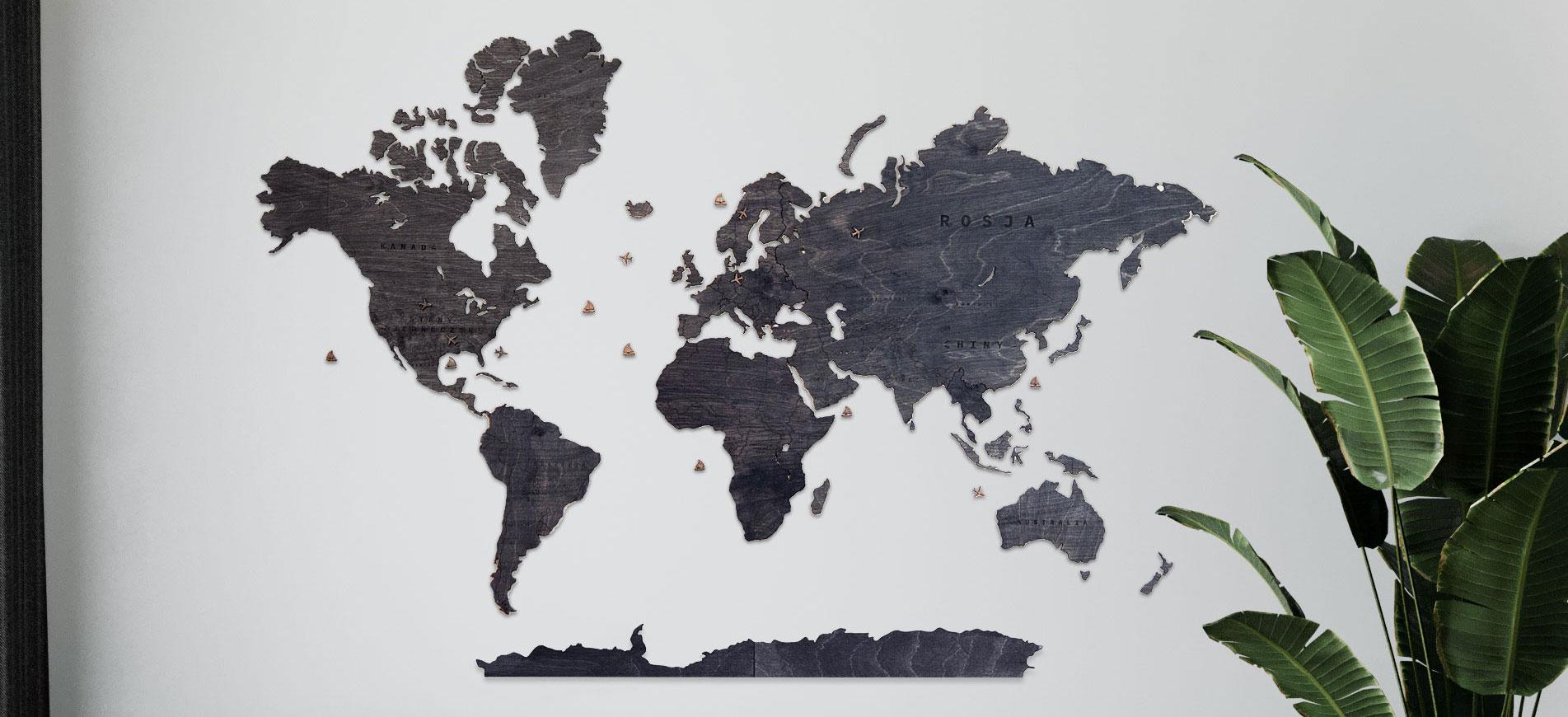 drewniana mapa wenge