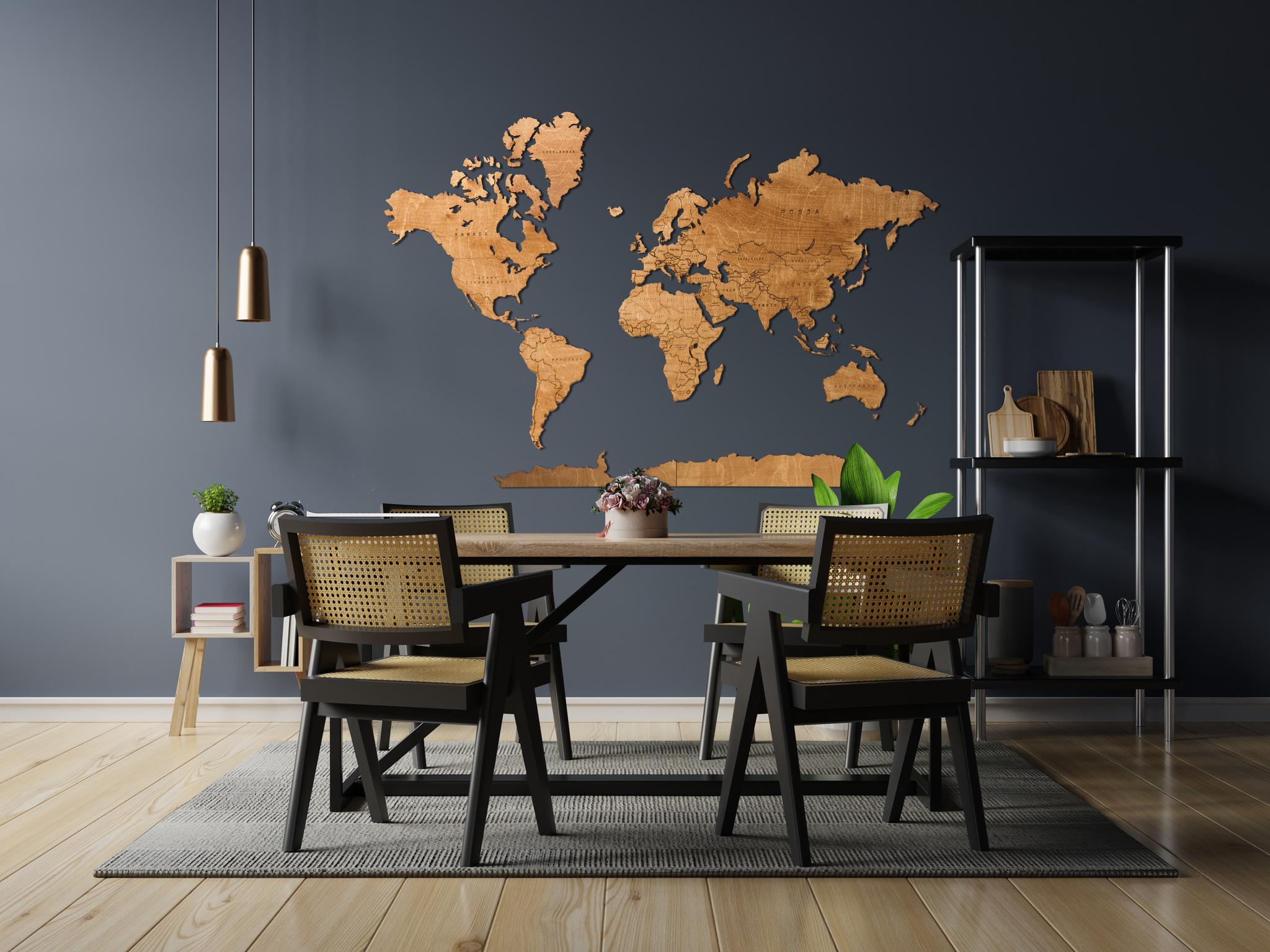 drewniana mapa swiata