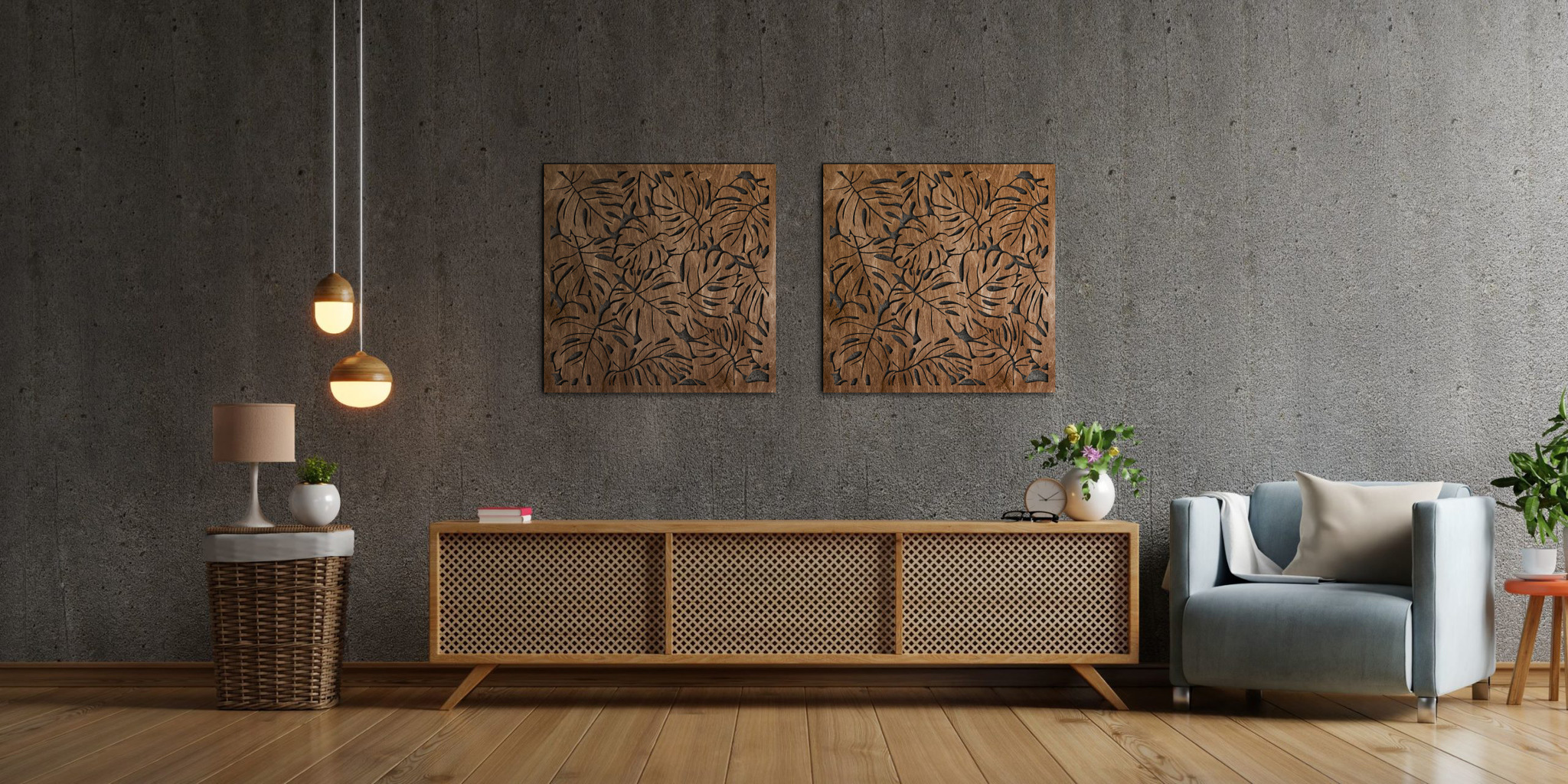 drewniana monstera panel