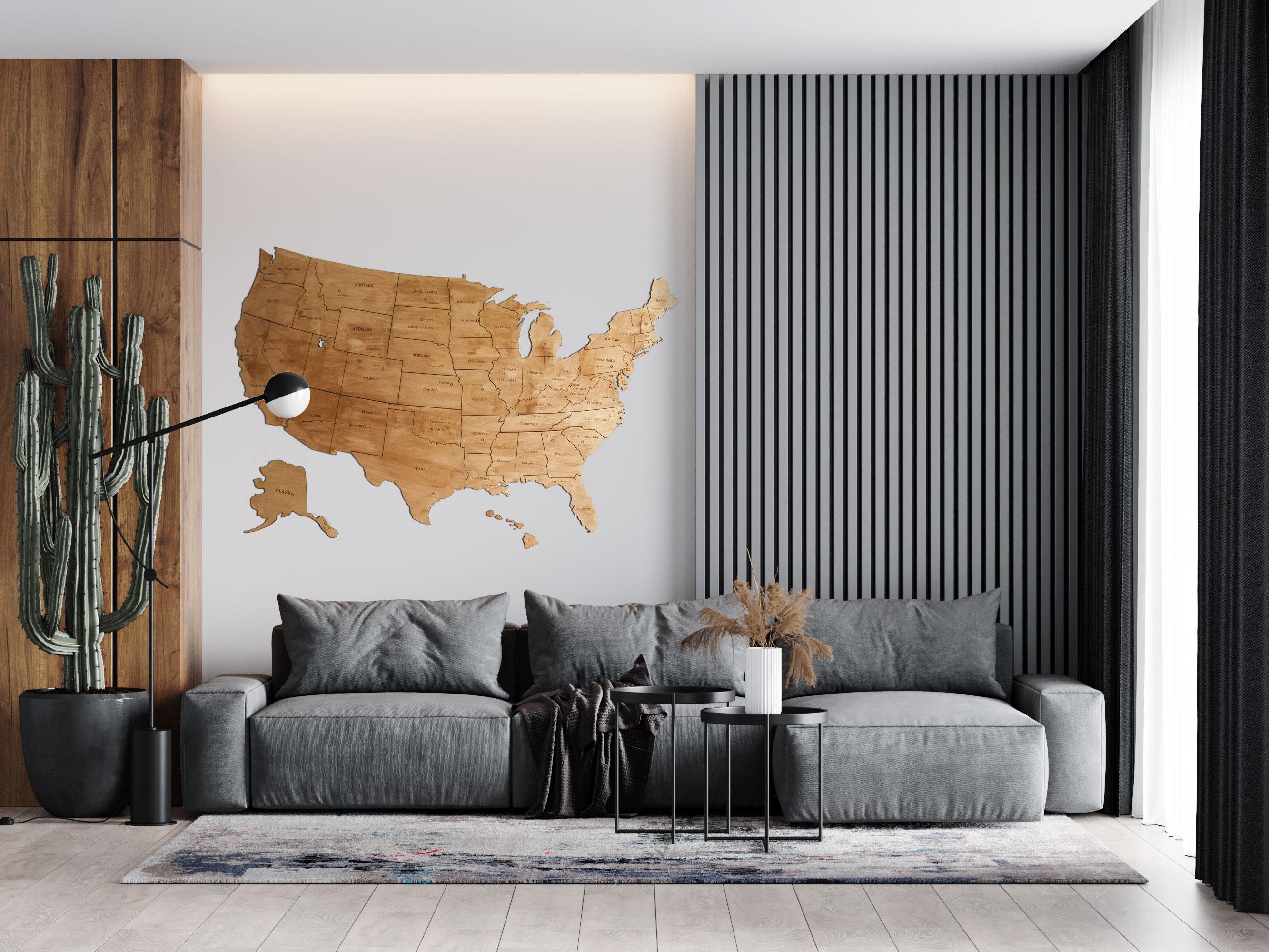 Drewniana Mapa USA